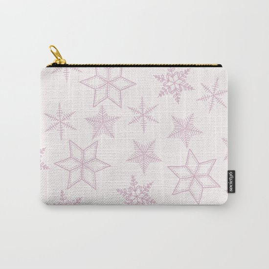 Pink Snowflakes On White Background Carry-All Pouch