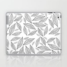 Black and White Simple Leaves one Laptop & iPad Skin