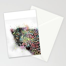 Cool leopard animal watercolor splatters abstract paint Stationery Cards