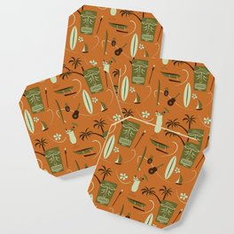 Orange Retro Hawaiian Tiki Hawaii Beach Coaster