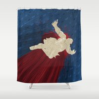 honda Shower Curtains featuring When Hondas Fly (Homage To Street Fighter's E. Honda) by GAAM