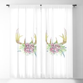 Bohemian Deer Antlers Blackout Curtain