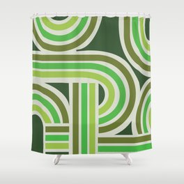 70's Green Funky Shower Curtain