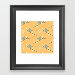 cute bird on branch silhouette pattern Framed Art Print