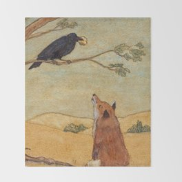 Fox and Crow, Aesop's Fable Illustration in the style of Arthur Rackham and Howard Pyle Throw Blanket