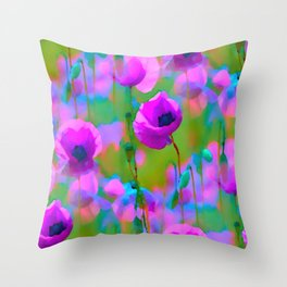 BLOOMING POPPIES TILE Throw Pillow