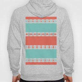 South Western Print in Modern Aqua Turquoise and Coral Geometric Diamonds Arrows Triangles Circles Hoody