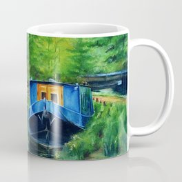 A narrow boat stops after passing through Coxes Lock near Addlestone in Surrey.  Coffee Mug