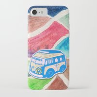 vw bus iPhone & iPod Cases featuring VW Bus Campervan by Carrie at Dendryad Art