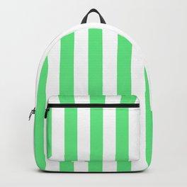 Algae Green and White Vertical Beach Hut Stripes Backpack