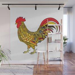 Festive cockerel Wall Mural