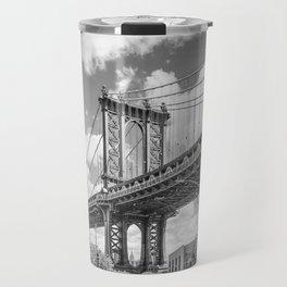 NEW YORK CITY Manhattan Bridge   Monochrome Travel Mug