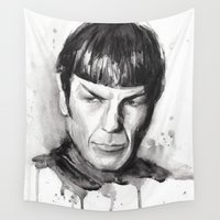 spock Wall Tapestries featuring Spock Watercolor Portrait by Olechka