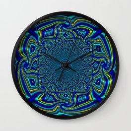Wave Mandala - Aqua Wall Clock