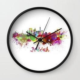 Jeddah skyline in watercolor Wall Clock