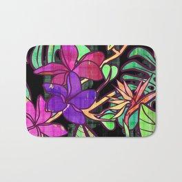 Tropical leaves and flowers, jungle print Bath Mat