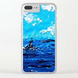 Boat on Rough Sea. Palette Knife Painting Clear iPhone Case
