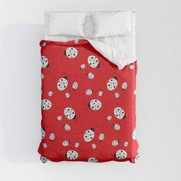 Ladybugs on Red Duvet Cover