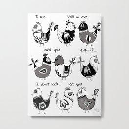 Easter Hen white Metal Print