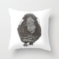 guinea pig Throw Pillows featuring Guinea Pig. by Elena O'Neill