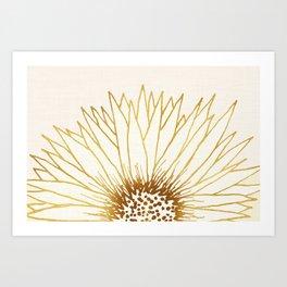 Gold Sunflower II - Wide Pastel Metallic Palette Art Print
