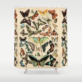 Papillon I Vintage French Butterfly Charts by Adolphe Millot Shower Curtain