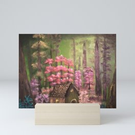 Enchanted cabin in the woods Mini Art Print