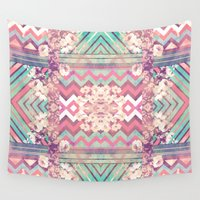 mirror Wall Tapestries featuring Floral Mirror by Girly Trend