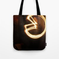 pacman Tote Bags featuring Pacman by Audrey's Photography