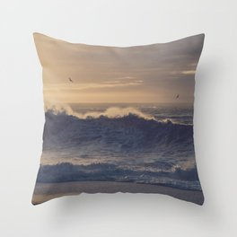 Beach in Iceland with Waves at Sunrise Throw Pillow