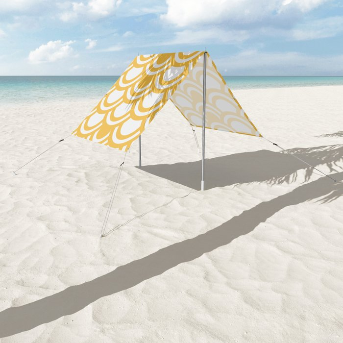 Yellow & White Half Circle Pattern Sun Shade