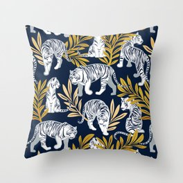 Nouveau white tigers // navy blue background yellow leaves silver lines white animals Throw Pillow