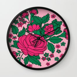 Green and Pink Flowers Wall Clock
