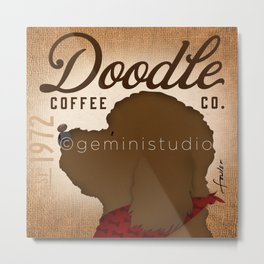 Doodle Coffee Company goldendoodle labradoodle artwork by Stephen Fowler Metal Print