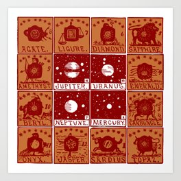 Twelve precious stones Art Print
