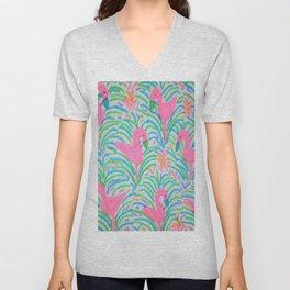 Flamingo Jungle Party Print Unisex V-Neck