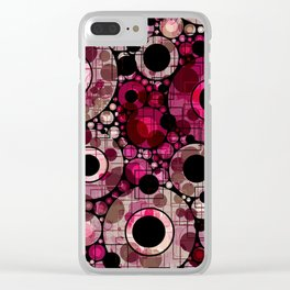 Vibrant Abstract Pink Bubbles design Clear iPhone Case