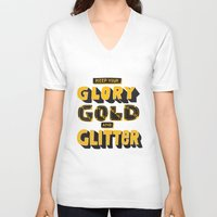 gold glitter V-neck T-shirts featuring Glory, Gold, Glitter by Vaughn Fender