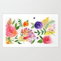 Watercolour Flowers part 3 Art Print