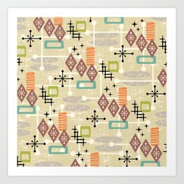 Retro Mid Century Modern Atomic Abstract Pattern 241 Art Print