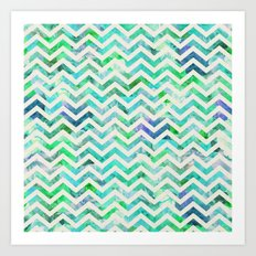 GREEN FLORAL CHEVRON Art Print