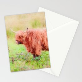 Highland cow watercolor painting #7 Stationery Cards
