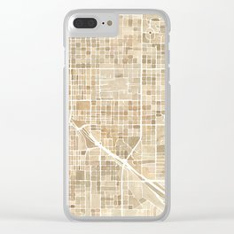 Tucson Arizona watercolor city map Clear iPhone Case