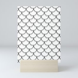 Reversed Black and White Mermaid Scales Mini Art Print