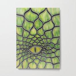 Dragon Eye Green Metal Print
