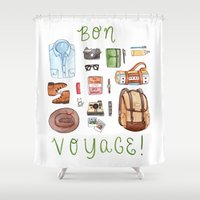 voyage Shower Curtains featuring Bon Voyage by Brooke Weeber