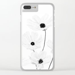 black and white cosmos Clear iPhone Case
