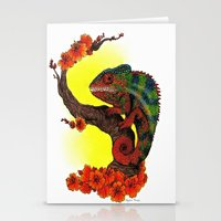 chameleon Stationery Cards featuring Chameleon by Allyson Travis