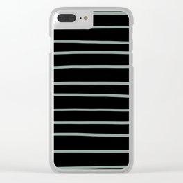 Valspar America Sea Green - Green Water - Zinc Blue Hand Drawn Horizontal Lines on Black Clear iPhone Case
