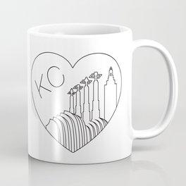Kansas City - Minimalist Skyline Heart Coffee Mug